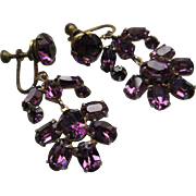 Vintage 1930s Screw Back Earrings Purple Crystal