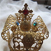 Vintage Religious Gilt Jeweled Crown For Santos