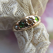 Victorian 10K Peridot Citrine and Seed Pearl Ring Wedding Band