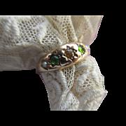 Victorian 10K Peridot Citrine and Seed Pearl Ring Wedding Band
