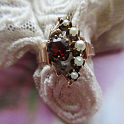 Victorian 10K Garnet Seed Pearl Crescent Moon Ring