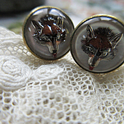 Vintage Deco 20s Essex Crystal Reverse Painted Fox Cufflinks In Gold Fill
