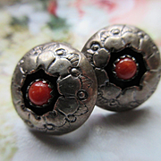 Vintage Sterling Navajo Coral Shadow Box Earrings