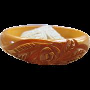 Vintage Deco 30s Carved Butterscotch Bakelite Bangle Bracelet
