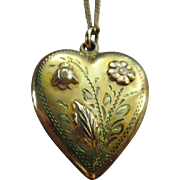 Vintage Floral Heart Locket Necklace In Gold Fill