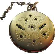 Antique Edwardian Jeweled Etched Locket Necklace in Gold Fill