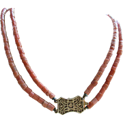 Vintage 20'' Double Strand Coral Tube Necklace