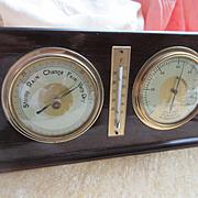 Vintage Wood Barometer Hygrometer Thermometer