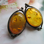 Vintage Sterling Amber Pierced Earrings