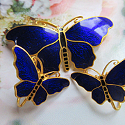 Antique CC Sporrong  Co Stockholm Enameled Butterfly Pin Screw Back Earrings