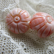 Vintage Angel Skin Coral Pierced Flowers Earrings