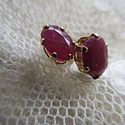 Vintage Ruby 14K Pierced Earrings
