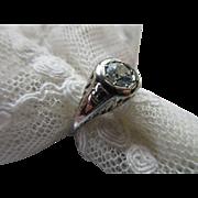 Vintage Deco 20s 30s Aqua Marine 18K White Gold Ring