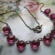 Vintage Deco Open Back Pink Crystal Necklace