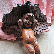 Antique Carved Wood Angel Cherub Wall Shelf Shabby Chic Decor
