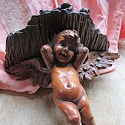 Antique Carved Wood Angel Cherub Wall Shelf Shabby Chic Decor