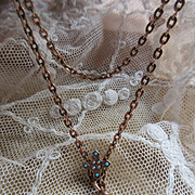 Victorian Antique Ladies Watch Chain Turquoise and Seed Pearl Slide