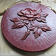 Vintage Lacquered Wood Asian Peony Wall Plaque