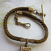 Victorian Hair Work Watch Chain With Book Locket Fob