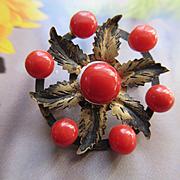 Vintage Circa 1930 Natural Coral Pin