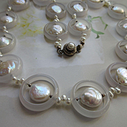 Vintage Fresh Water Pearl and Natural Stone Silver Necklace