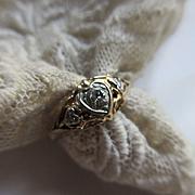 Older Vintage Circa 1930 Diamond 14K Ring  Heart Shaped Bezels