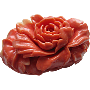 Vintage Celluloid Faux Coral Rose Pin
