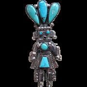 Vintage Native American Zuni  Alonzo Hustito Kachina Corn Dancer Pin Pendant Sterling Turquoise