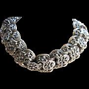 Vintage Napier Signed Silver Toned Necklace Bracelet and Earrings Set