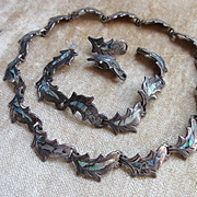 Vintage Mexican Sterling Abalone Necklace Earrings and Bracelet   Silver Taxco  IMP