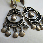 Vintage Sterling Drop Dangle Hallmarked Pierced Earrings