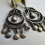 Vintage Sterling Drop Dangle Hallmarked Pierced Earrings