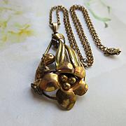 Vintage Retro circa 1940 Floral Necklace in Gold Fill