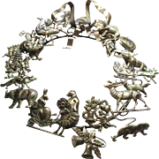 Vintage Petits Choses Dresden Victorian Style Brass Holiday Wreath