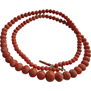 Antique Natural Coral Beaded 21'' Necklace