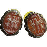 Vintage Silver Carved Cameo Marcasite Earrings  The Three Graces