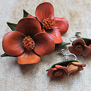 Vintage Leather Dogwood Flowers Brooch and Screw Back Earrings  Artisan Signed