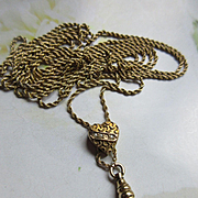 Antique Victorian 10K Ladies Watch Chain with Heart and Seed Pearl Slide