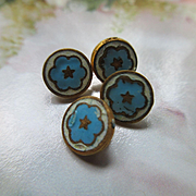 Victorian Enameled Buttons Set of 4