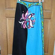 Vintage 60s EMILIO PUCCI Authentic Velvet Maxi Skirt Floor Length Hot Colors