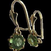 Older Vintage 14K Peridot Pierced Earrings  August Birthstone