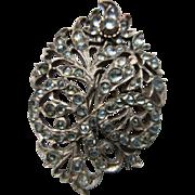 Antique Georgian Rose Cut Quartz Brooch in Silver    Reserved for Indika