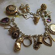 Older Vintage 14K Cultured Pearl Charm Bracelet with 10K 14K and GF Charms