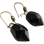 Vintage 30s Faceted Black Glass Drop Pierced Earrings
