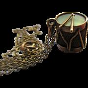 Antique Victorian Woven Hair Drum Fob Charm