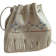Older Vintage Soft Leather Beaded Purse Native American
