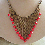 Vintage 30s Brass Red Glass Beads Bib Necklace