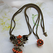 Antique Necklace with Natural Coral Bead Accents