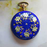 Deco 20s Vintage Enameled Pocket Watch Pendant TLC