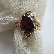 Victorian circa 1880 10K Garnet Ring